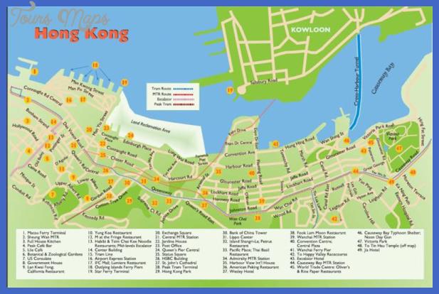 hong kong map tourist attractions  8 Hong Kong Map Tourist Attractions