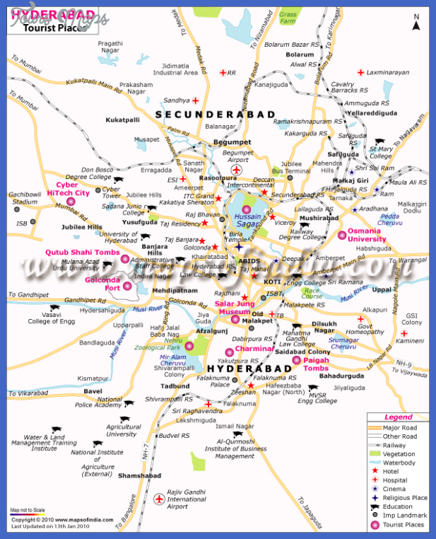Hyderabad Map Tourist Attractions ToursMapscom