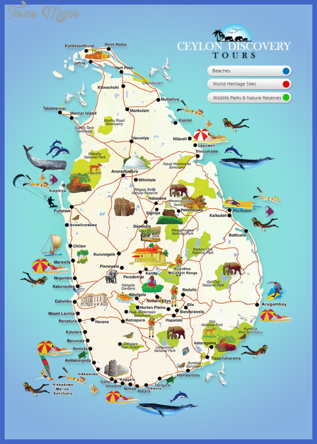 Sri Lanka Map Tourist Attractions ToursMapsCom – Minnesota Tourist Attractions Map