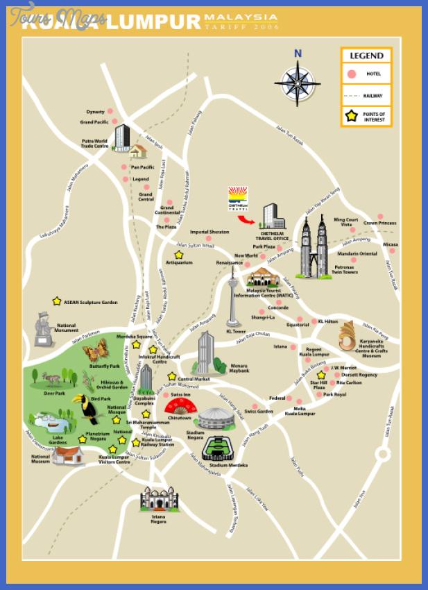 Kuala Lumpur Map Tourist Attractions ToursMapscom