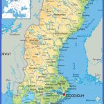 large detailed physical map of sweden with all roads cities and airports for free 150x150 Sweden Map