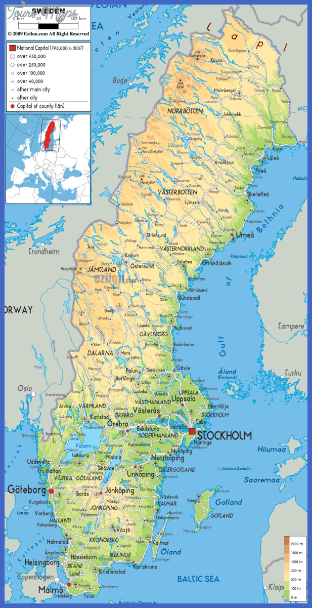 large detailed physical map of sweden with all roads cities and airports for free Sweden Map