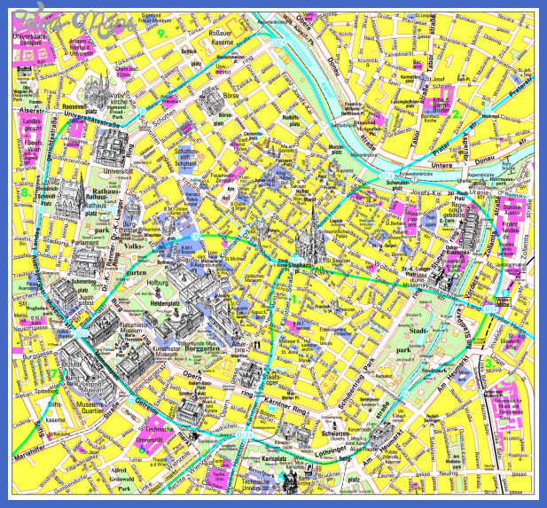 large detailed tourist map of vienna city center for free Vienna Map