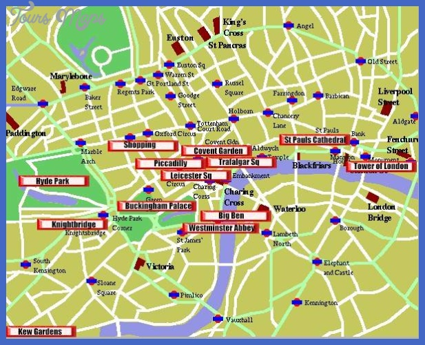 London Map Tourist Attractions ToursMapscom