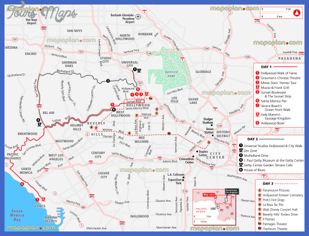 Los Angeles Map Tourist Attractions ToursMapscom