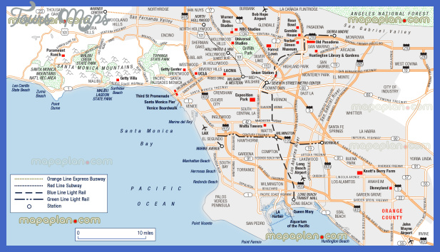 los angeles map tourist attractions  1 Los Angeles Map Tourist Attractions