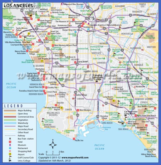 los angeles map building commercial area major road railway golf airport Los Angeles Map