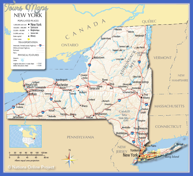 map 0f New York state - ToursMaps.com ®