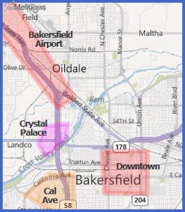 map bakersfield ca airport hotels Bakersfield Metro Map