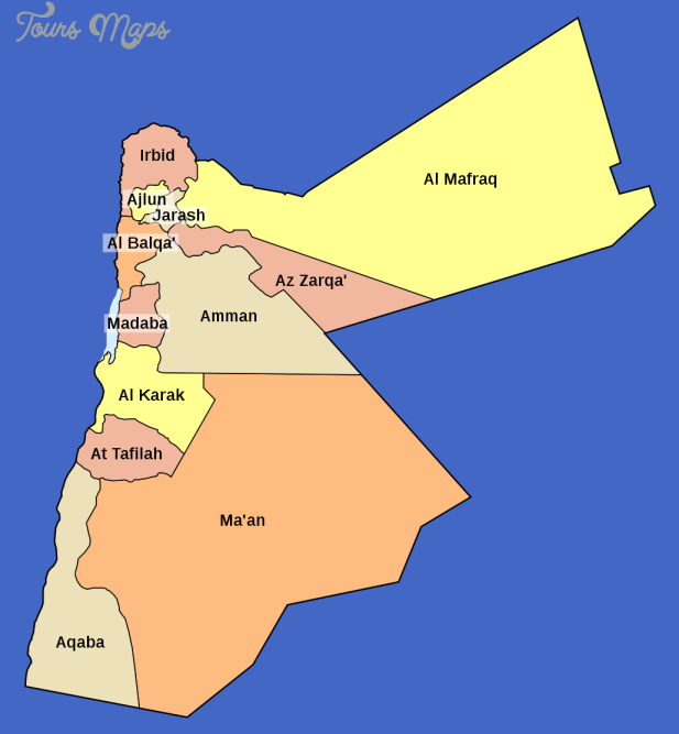 map jordan governorates Jordan Map