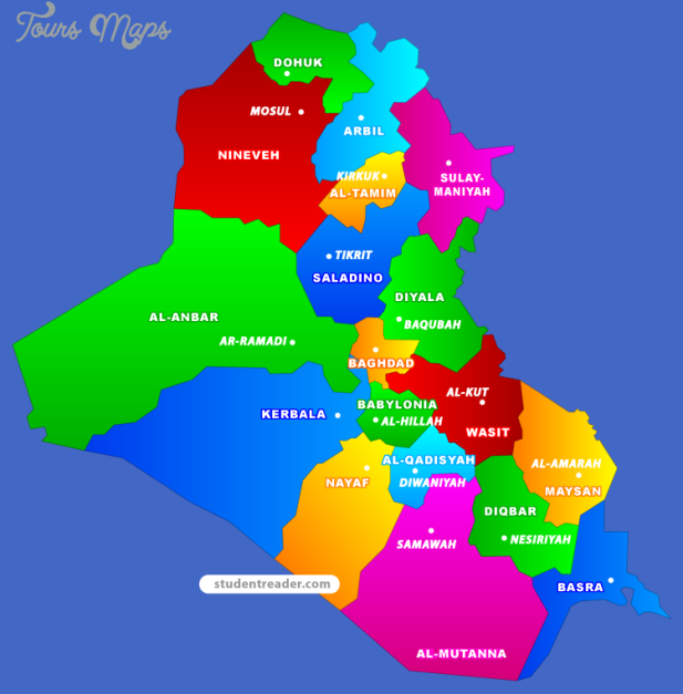 Iraq Metro Map Map Travel Holiday Vacations – Map of Iraq Provinces