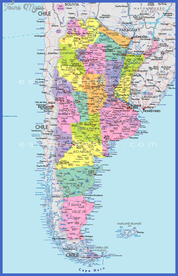 Argentina Map ToursMapscom - Map argentina