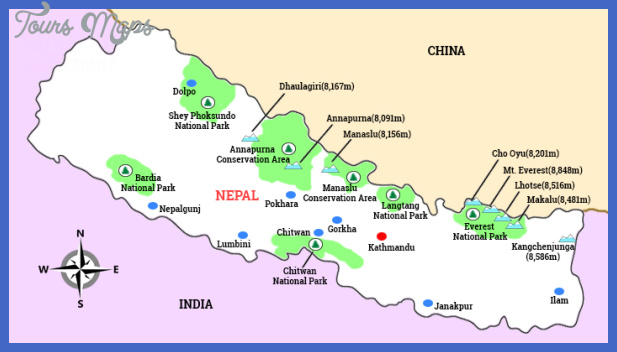 map of nepal Nepal Map Tourist Attractions