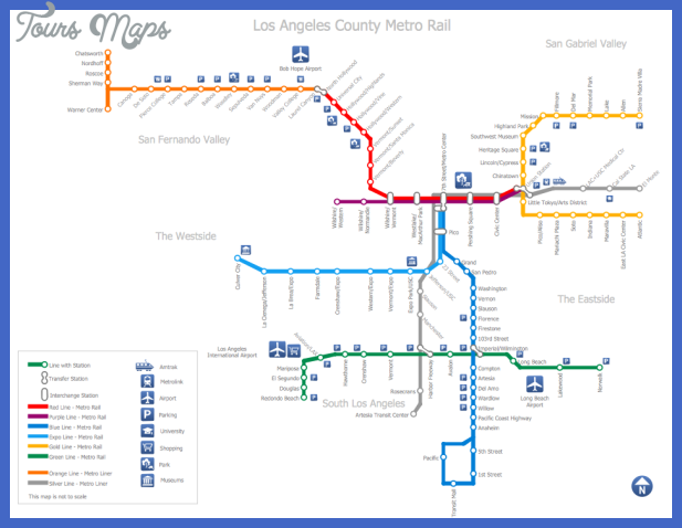 Los Angeles Subway Map 2016.Los Angeles Subway Map Toursmaps Com