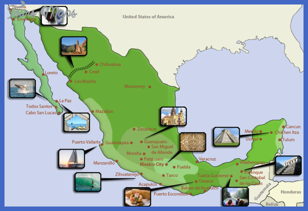 Mexico Map Tourist Attractions ToursMapsCom – Santa Fe Tourist Attractions Map