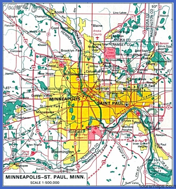 minneapolisst paul metro map  0 Minneapolis St. Paul Metro Map
