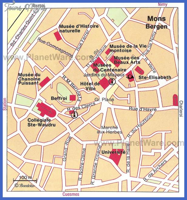 mons bergen map Belgium Map Tourist Attractions