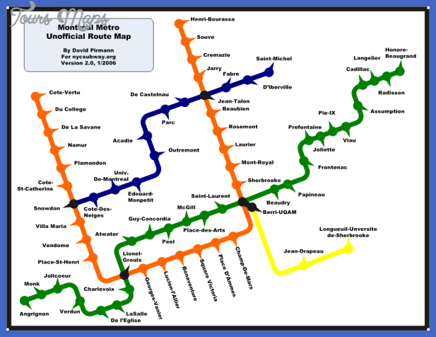 Montrrsl Subway Map.Montreal Subway Map Toursmaps Com