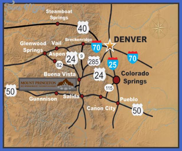 mt princeton hot springs map Colorado Springs Metro Map
