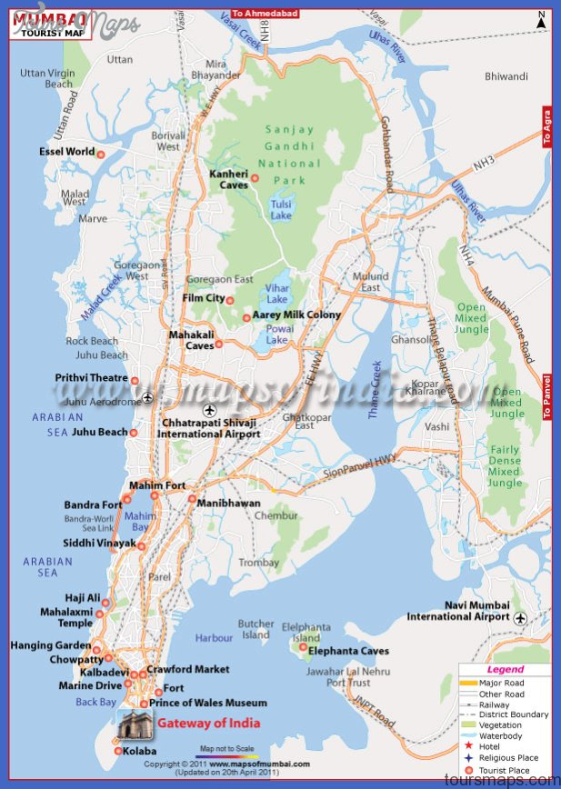 mumbai tourist map Mumbai Map Tourist Attractions