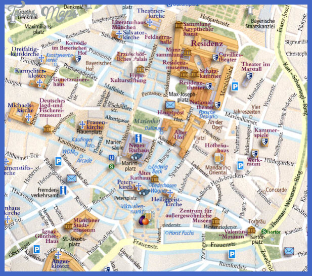 Munich Map Tourist Attractions ToursMapsCom – Munich Tourist Map