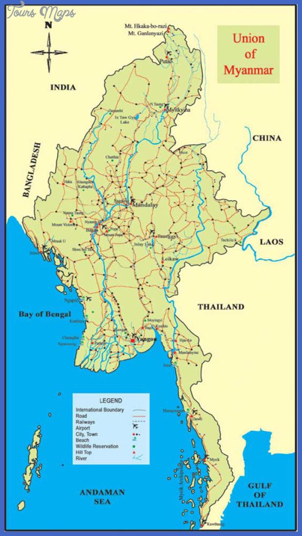 myanmarmap Burma Map Tourist Attractions