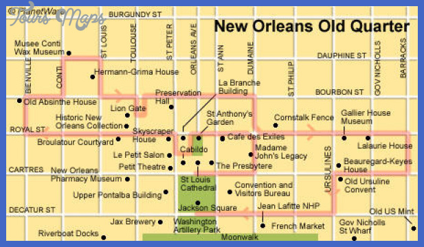 New Orleans Map Tourist Attractions ToursMapsCom – Tourist Map New Orleans