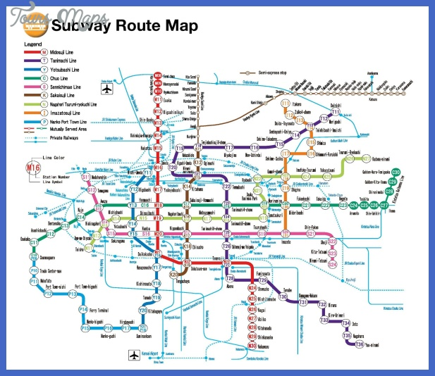 Osaka Rail And Subway Map.Osaka Subway Map Toursmaps Com