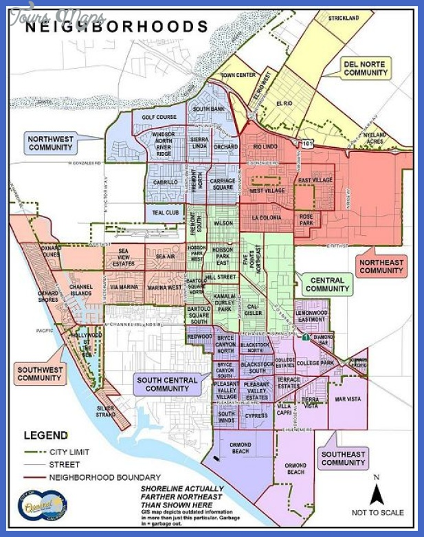 oxnard neighborhoods map 500x637 Bakersfield Metro Map
