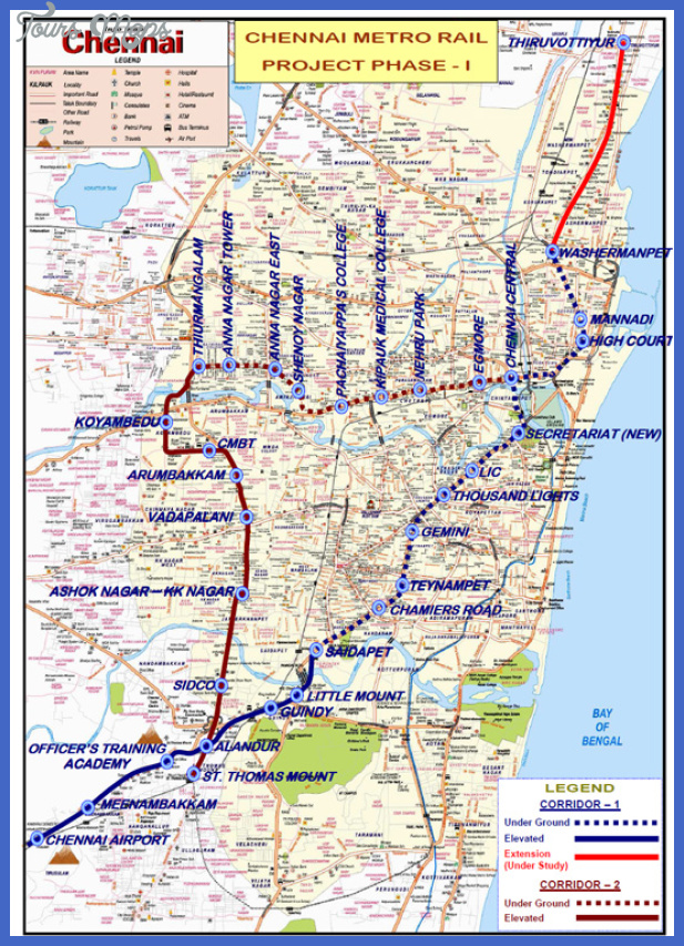 phase 1 alignment of the Chennai Subway Map