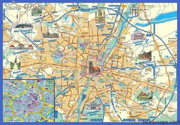 Munich Map Tourist Attractions ToursMapsCom – Munich Tourist Attractions Map
