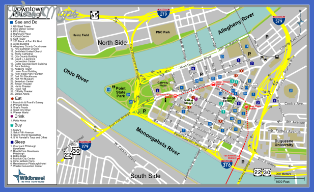 pittsburgh tourist map 2 Pittsburgh Map Tourist Attractions