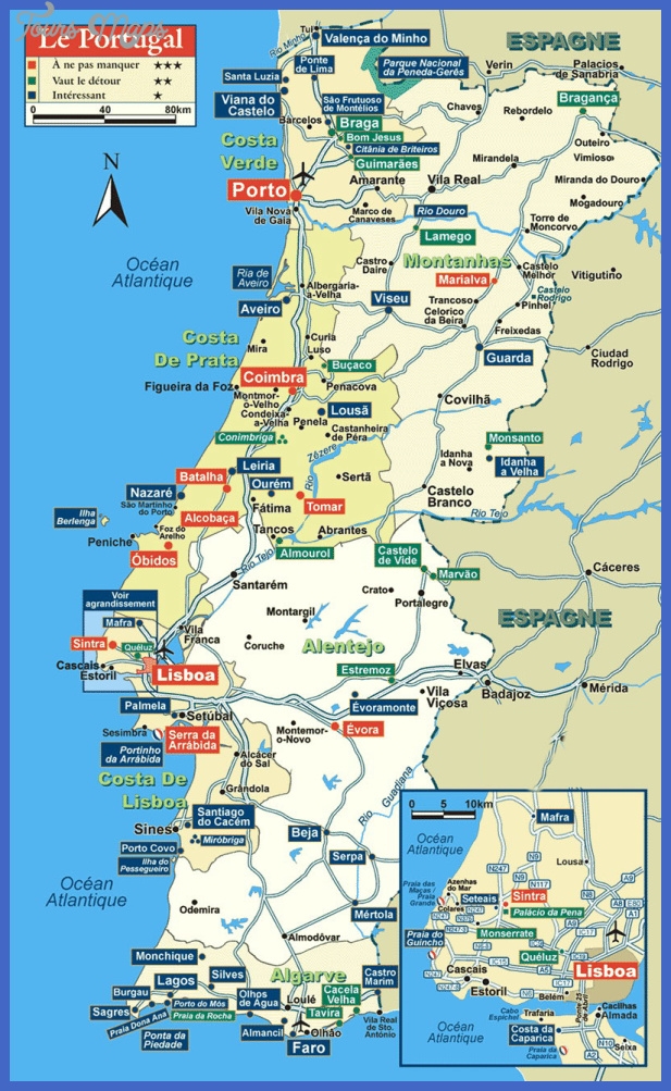 portugal tourist map 1 Portugal Map