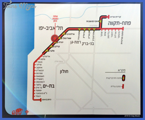 red line 2015 Tel Aviv Metro Map