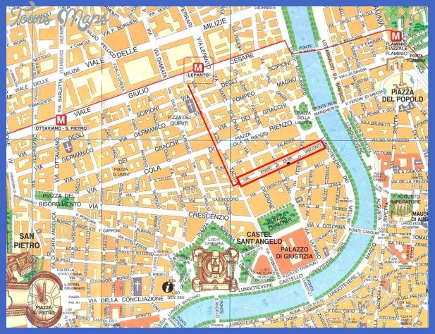 rome city tourist map 2 Rome Map Tourist Attractions