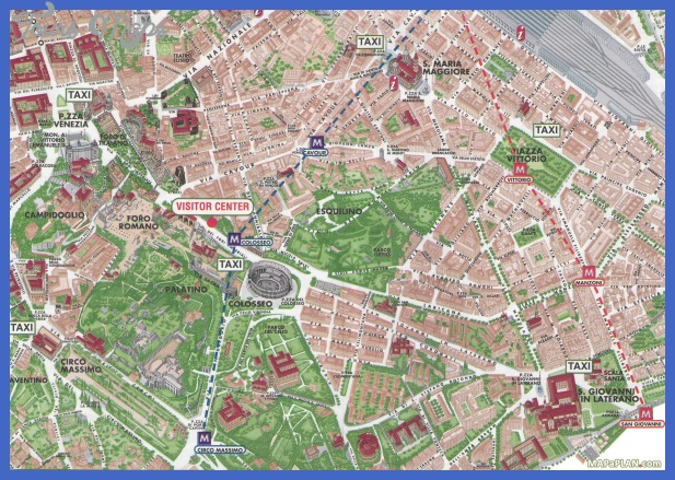 Rome Map Tourist Attractions ToursMapsCom – Map Rome Tourist Attractions