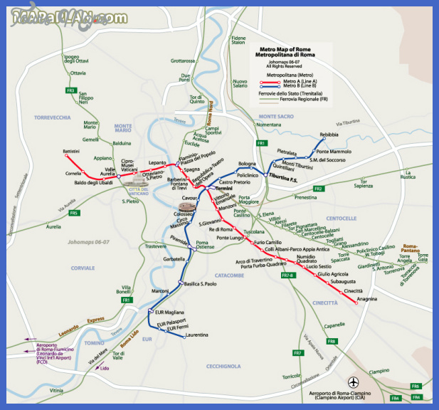 rome top tourist attractions map 06 metro subway map with attractions overlay high resolution Rome Metro Map