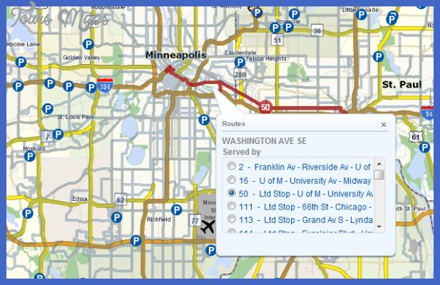 routemap 1 Minneapolis St. Paul Metro Map