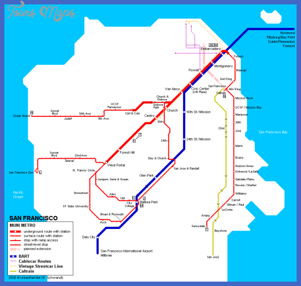 san francisco map metro 1 Tampa Subway Map