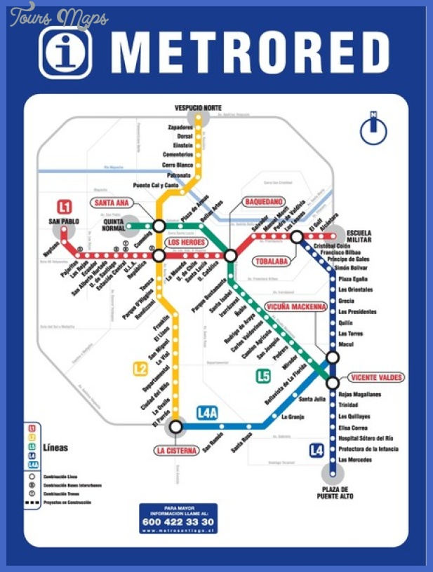 Santiago Subway Map.Santiago Metro Map Toursmaps Com