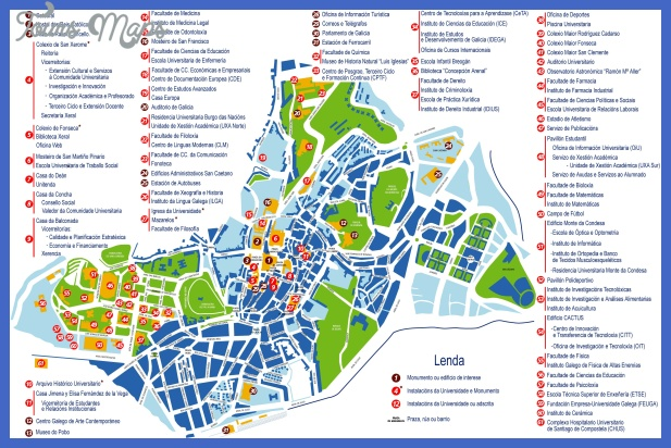 santiago de compostela tourist map Santiago Map Tourist Attractions