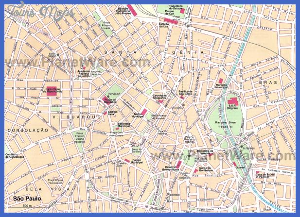 sao paulo downtown map Sao Paulo Map Tourist Attractions