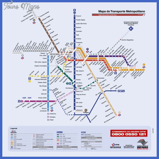 saopaulometromap Sao Paulo Subway Map