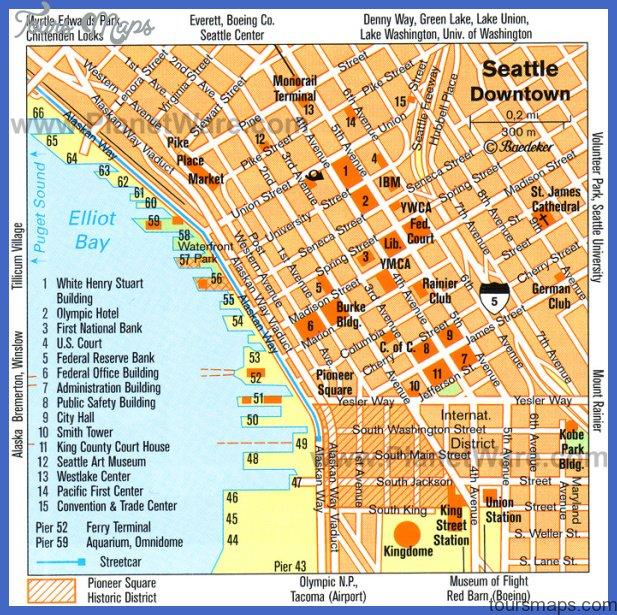 Seattle Map Tourist Attractions Toursmaps Com