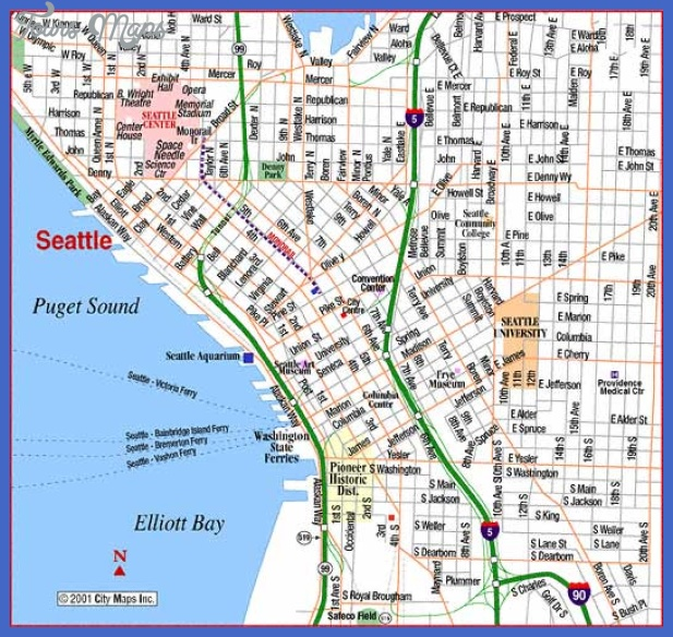Seattle Map Tourist Attractions ToursMapsCom – Seattle Washington Map Tourist