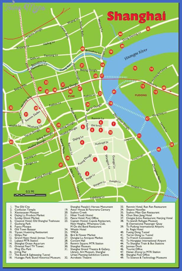 shanghai map tourist attractions  6 Shanghai Map Tourist Attractions