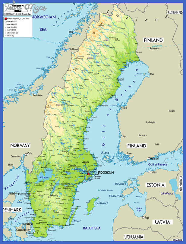 Swedenphysicalmapjpg Map Travel Holiday Vacations - Sweden map physical