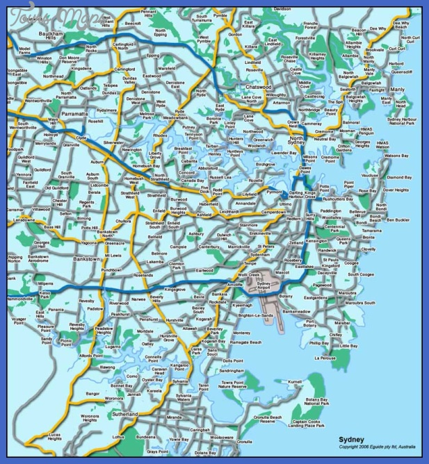 Sydney Map Tourist Attractions ToursMapsCom – Sydney Australia Tourist Attractions Map