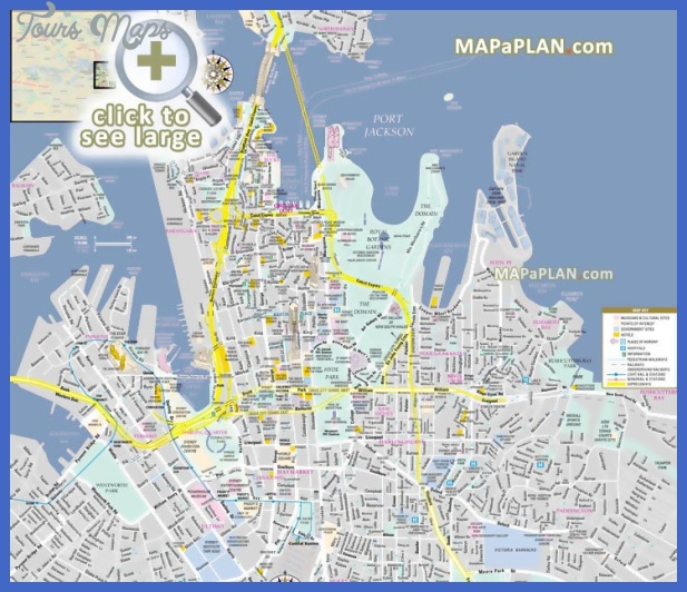 sydney top tourist attractions map 01 inner city centre cbd detailed street travel guide must see places best destinations to visit Sydney Map Tourist Attractions