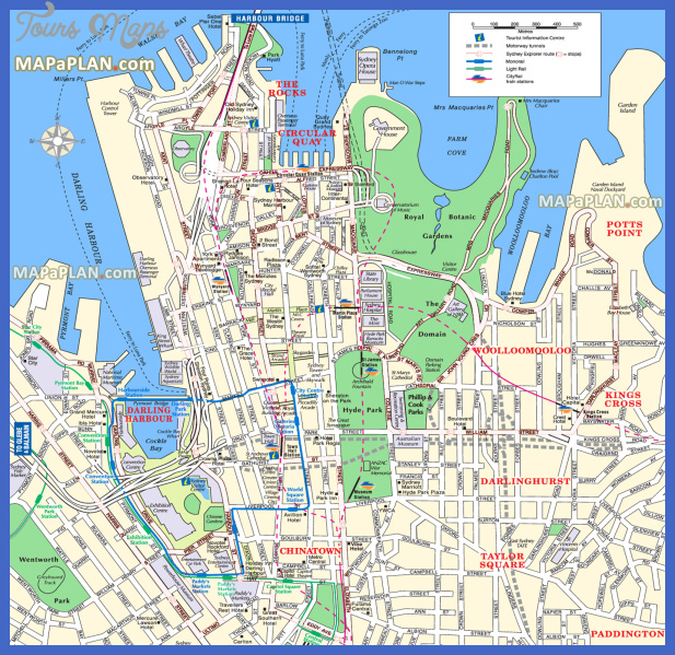 Sydney Map Tourist Attractions ToursMapscom